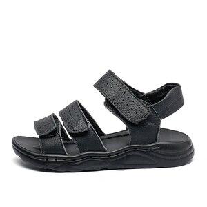 Image 2 - Duże chłopcy czarne skórzane sandały plażowe sandały dzieci formalne buty buty szkolne dzieci jakości letnie buty open toe 26 37, 3 paski,