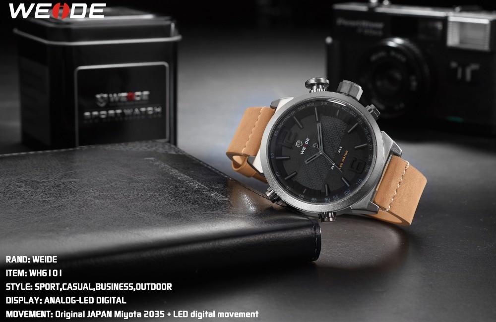 Topdudes.com - Luxury Brown Leather Strap Military Style Analog Digital Quartz Relogio Masculino Wrist Watches