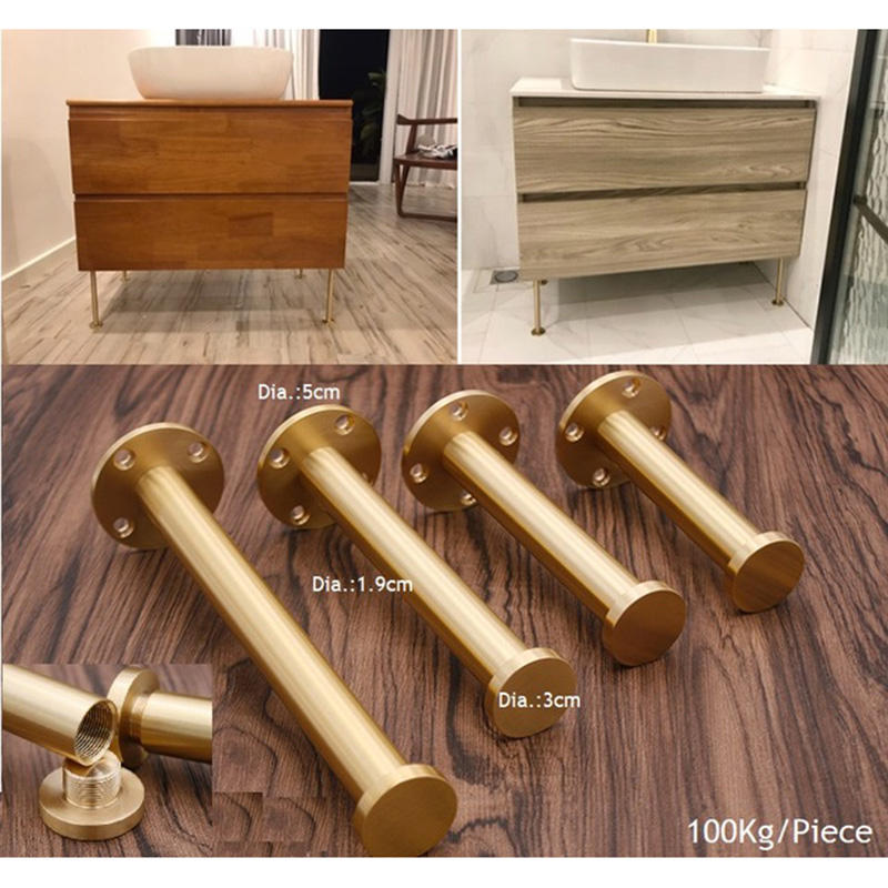 2Pcs/Lot Brass Gold Sofa Closet Cupboard Cabinet Leveler Leveling Feet Furniture Adjustable Leg