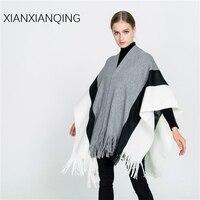 XIANXIANQING Winter Solid Striped Women Ponchos Popular Black Grey Lady Scarf Warm Thickening Shawls Cape Echarpe