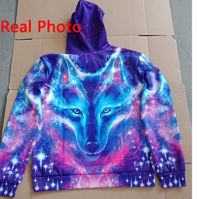 EUR Size Space Galaxy Wolf Hoodie Hoodies Men Women 2019 New Fashion Spring Autumn Pullover Sweatshirts Sweat Homme 3D Tracksuit 4