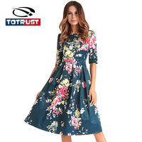 TOTRUST Vintage Floral Dresses Womens Dresses 2018 Vestidos Verano Flower Sexy Back V Neck Dress Summer Grid Knee Length Vestido