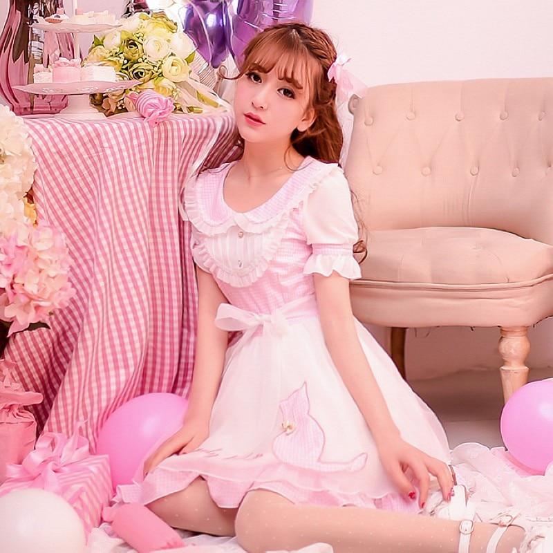 Princess sweet lolita dress Candy rain new summer Japanese style cute sweet cat embroidery chiffon Tartan dress W36