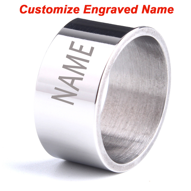 Custom Engraved Name rings for men laser letter rings Smooth surface 316L Stainl