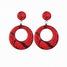 Fashion Creative Leather Earrings for Women  Snake Skin Leopard Pattern Round Korean Net Red PU Drop Earring 2019 Jewelry
