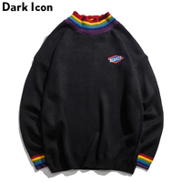 DARK ICON Rainbow Collar Pullover Men's Sweater 2019 Winter Loose Style Sweater for Men High Street Sweaters Black White