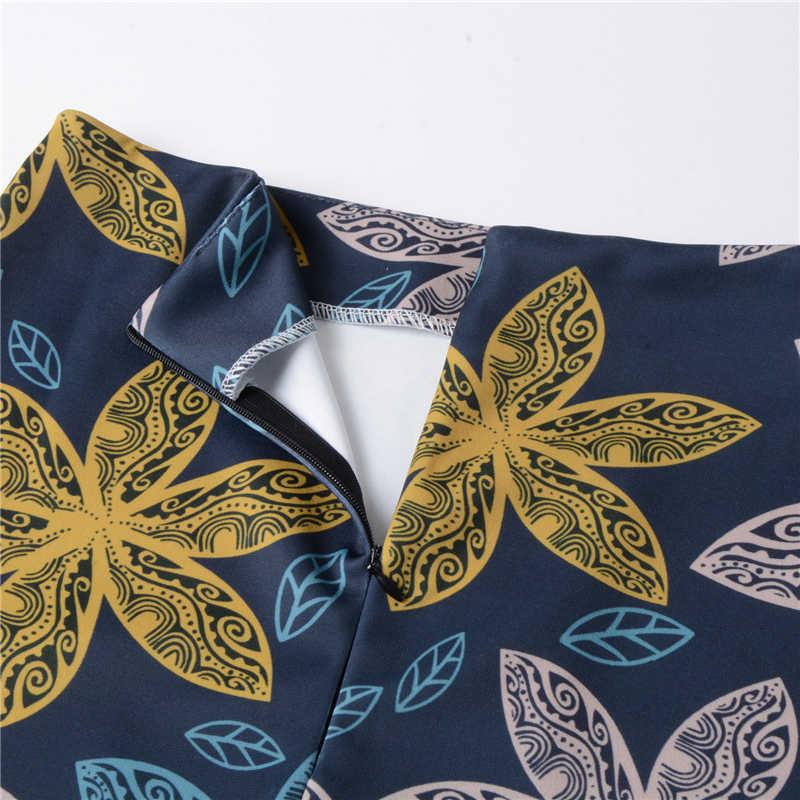 Neophil 2019 Ladies Office Work Wear Floral Pattern Midi Pencil Skirts High Waist Slim Sexy Plus Size XXXL Saia Jupe Femme S1232