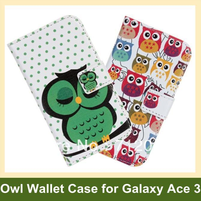 Fashion Animal Pattern Owl Print PU Leather Wallet Flip Cover Case for Samsung Galaxy Ace 3 S7272 S7270 10pcs/lot