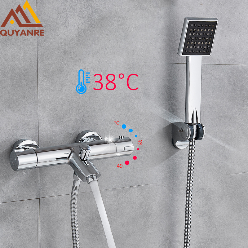 Quyanre Chrome Shower Faucets Thermostatic Shower Thermostatic Mixing Valve Bathroom Faucet with Handshower Bath Mixer Faucet everso bathroom shower faucet thermostatic faucet dual handles thermostatic mixer valve bathtub faucets