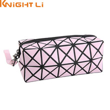 Fashion Geometric Zipper Cosmetic Bag Women Laser Flash Diamond Leather Makeup Bag Ladies Cosmetics Organizer New Trend N524