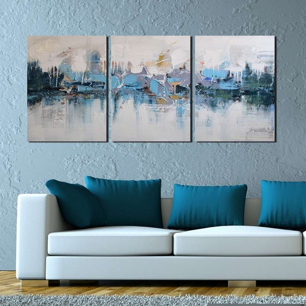 "Modern Abstract Oil Painting ""Blue Villages"" 3 Piece ..."