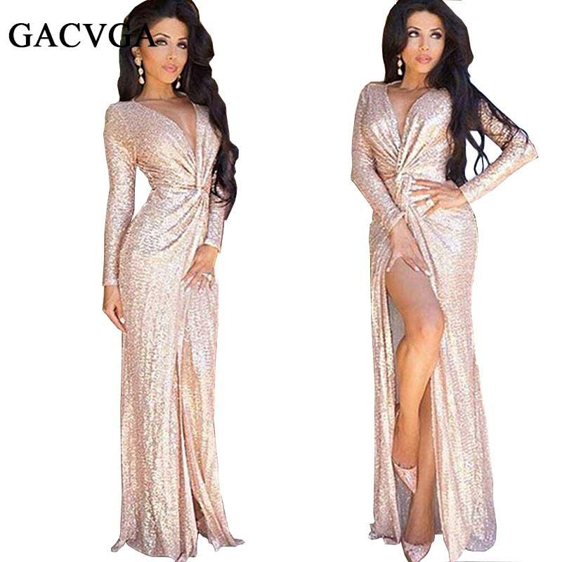 Buy Cheap 2016 Sexy v-neck bodycon dress summer elegant Evening party long dresses Slim sequin dress Women beach vestidos