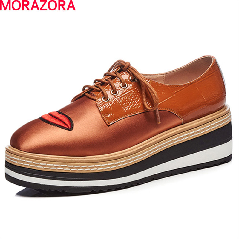 MORAZORA fashion new arrival lovely med heels shoes lace up solid spring shoes leisure women shoes pumps size 34-40 morazora plus size 34 42 wedges shoes med heels 4 5cm round toe single shoes fashion lace up women pumps platform