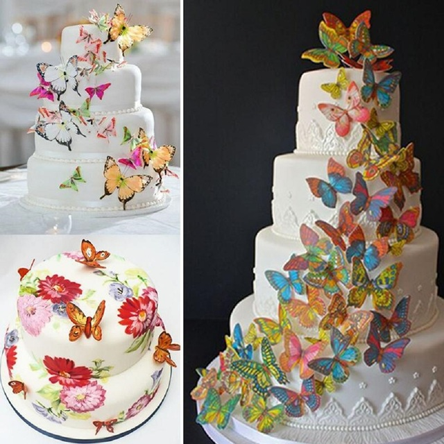 20pcs 3d Edible Butterfly Cake Decoration Wedding Birthday Party