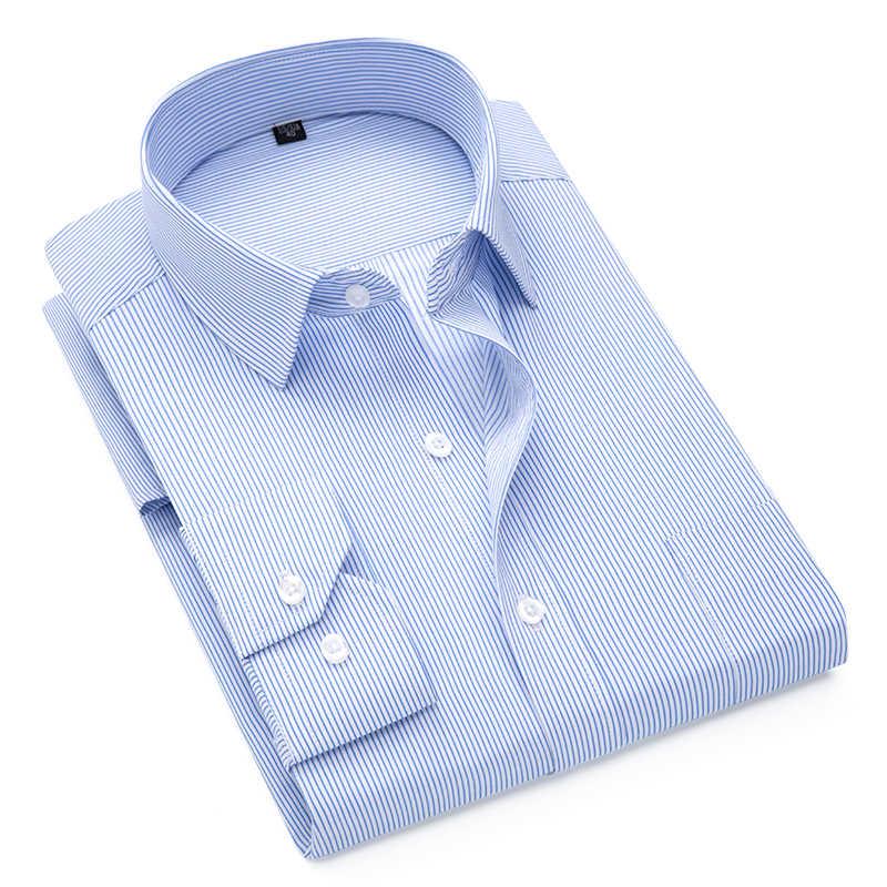 高級ストライプシャツクリスマスビジネス男性ドレスシャツ長袖スリムフィット男性のシャツ camisas やつプラスサイズ 7XL 8XL 9XL