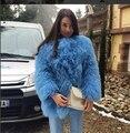 Famosa Marca europea de Lujo Otoño Invierno abrigos De Piel chaquetas de piel de Oveja Real engrosamiento Caliente Natural abrigos De Piel De Cordero