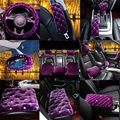 Purple short plush rhinestone covered warm women fashion car Seat Covers handbrake car accessories for autumn winter
