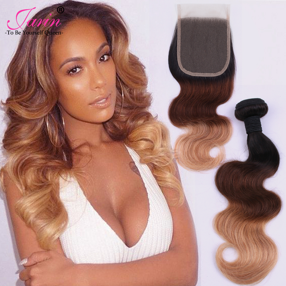 Ombre Body Wave Indian Hair 3 Bundles With Lace Closure 1B 4 27 Three Tone Weave