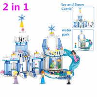 lOZ 37026 344pcs 2 In 1 Snow Princess Elsa Ice Castle Princess Anna LegoINGly Friends Building Blocks Kit Toys Christmas Gifts