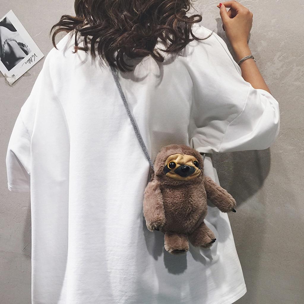 Fashion Cute Plush Chain BagWomen Koala Sloth-Like Plush Crossbody Bag Chain Weird Bag Shoulder Bags Bolsa Feminina#15