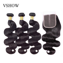 100% Human Hair Bundles With Closure 3 Bundles Peruvian Body Wave Hair Weaves With Lace Closure VSHOW Remy Hair 4*4 Swiss Lace цена 2017
