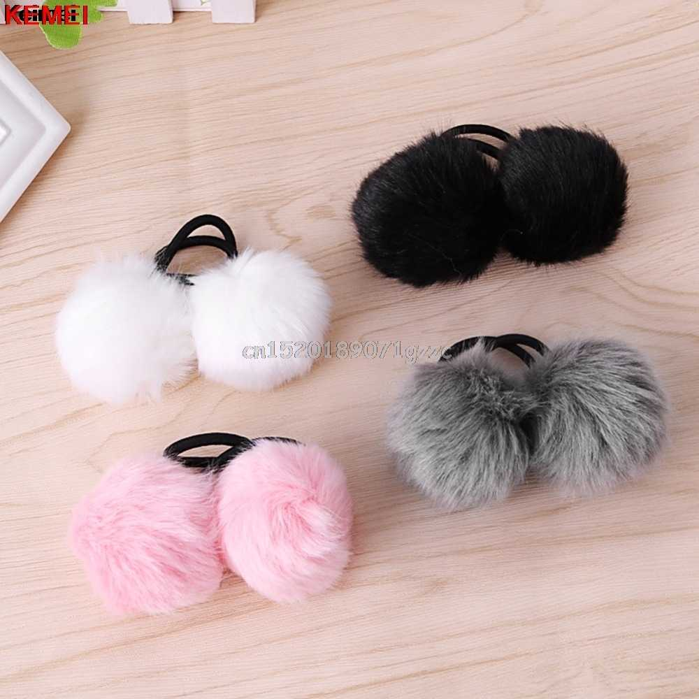 Elastic Women Girls Pompom Ball Hairband Rope Ring Hair Band Ponytail Holder #H027#