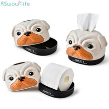 Creative Cartoon Dog Animal Tissue Box For Home Roll Paper Receiving Barrel Car Removable Towel Tube
