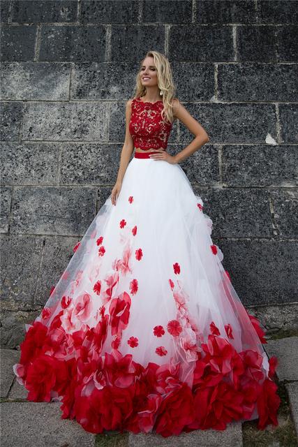 3D Flower Bohemia White Red Lace Tank Wedding Dresses