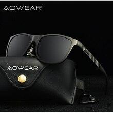 AOWEAR Роскошные качественные солнцезащитные очки мужские Поляризованные алюминиевые ретро солнцезащитные очки мужские очки поляроидные квадратные очки Lunette De Soleil