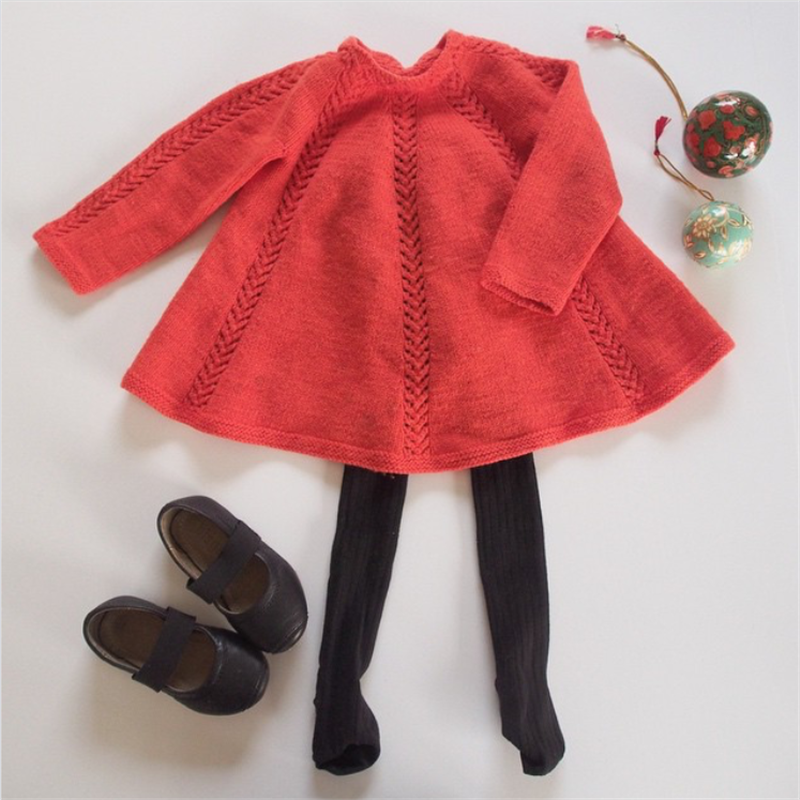 Princess Girls Sweater Dress Winter Autumn Long Sleeve Knitted Sweaters Red Baby Dresses Kids Clothes For Infant Girl Costume sweater girls yellow 80% wool knit clothes children child cardigan girl coats winter girl clothes kids sweaters toddler knitted