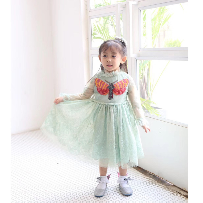 Baby girl princess dress long sleeve Sequin Butterfly kids dresses for girls shining lace wedding dress