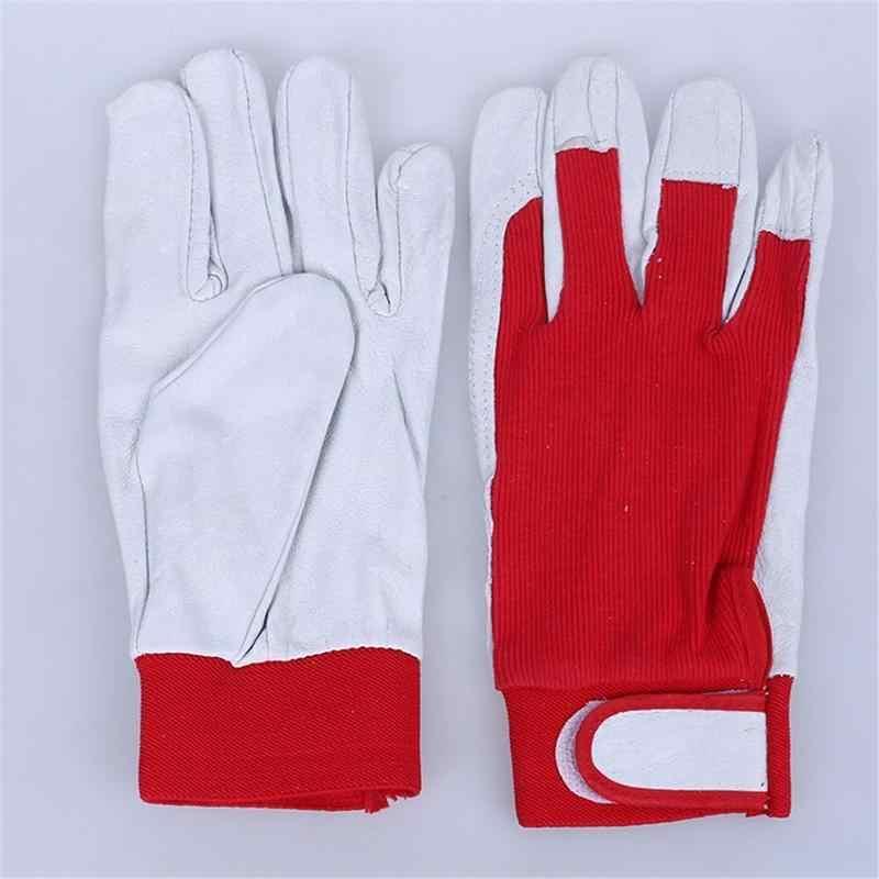 1 paio di Guanti da Lavoro Meccanico Guanto di Saldatura di Cuoio Cappotto Pesante Industriale Guanto di Sport Rosso E Bianco Guanti Da Lavoro