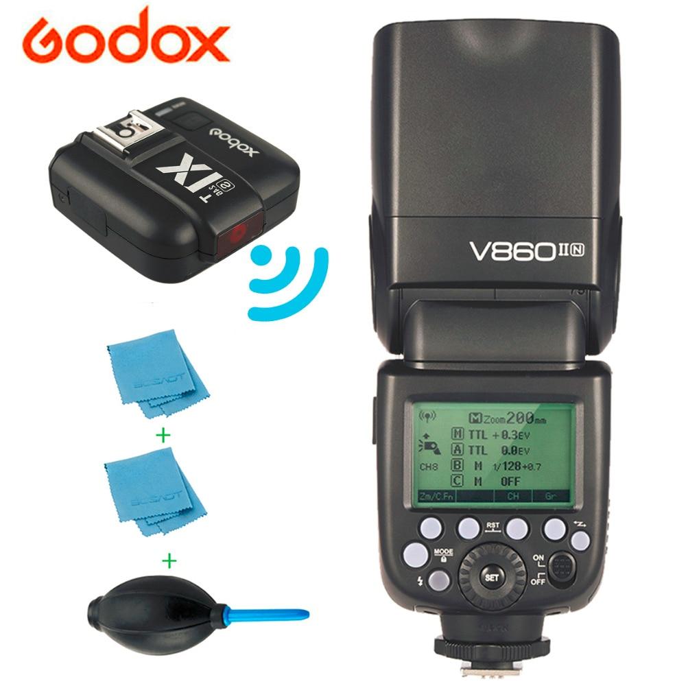 Godox Ving V860II V860II-N GN60 E-TTL HSS 1/8000 리튬 이온 배터리 스피드 라이트 플래시 키트 + Nikon DSLR 카메라 용 송신기 X1TN