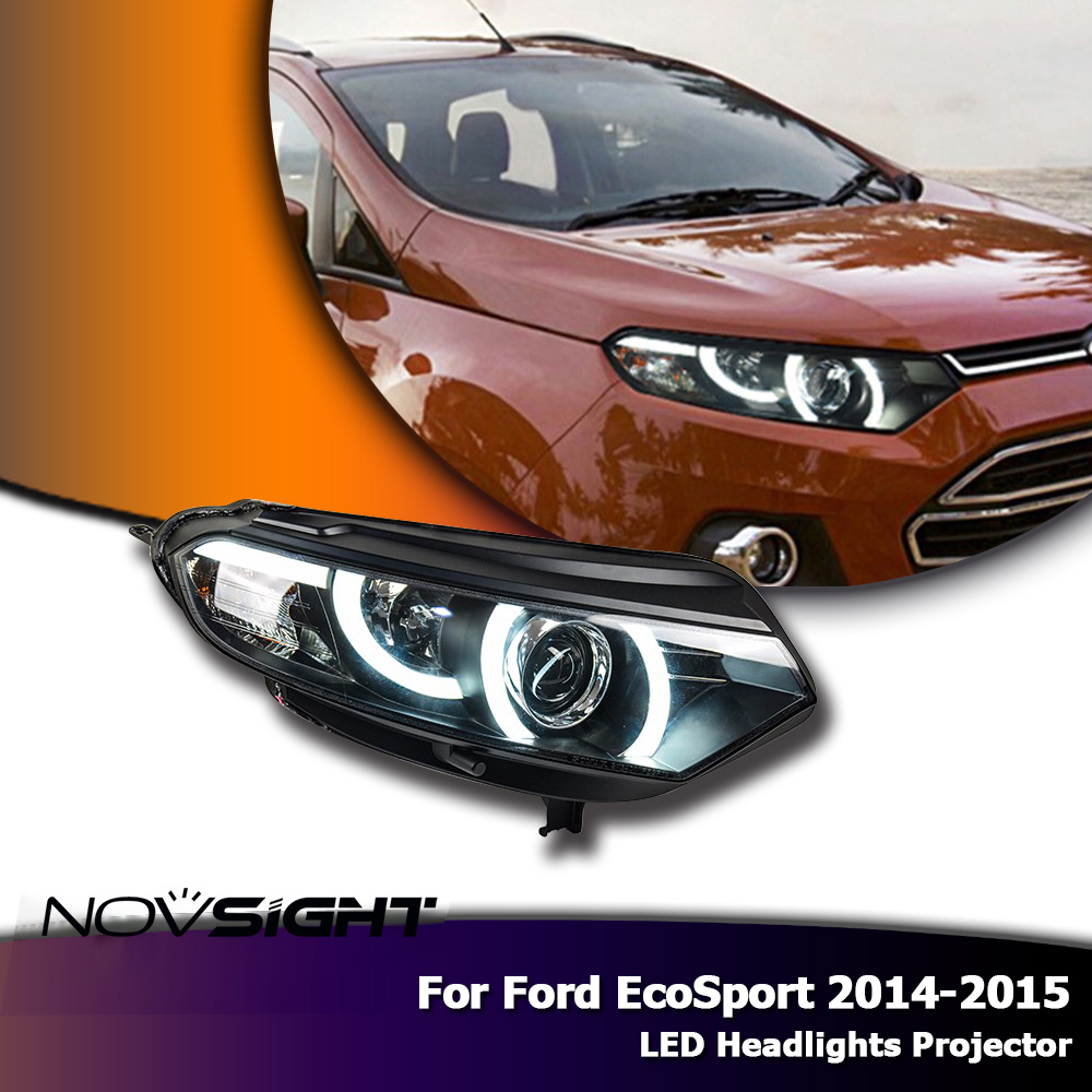 NOVSIGHT Auto Car LED Projector Headlights Assembly Turn Singal Fog Lamp DRL Daytime Running Light For Ford Ecosport 2014-2015 novsight 2pcs set auto car led drl daytime running light turn singal fog lamp white yellow for honda fit 14 16 free shipping