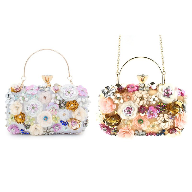 THINKTHENDO Women Clutch Purse Colorful Flower Evening Bag Sequins Satin Handbag for Wedding Bag New Listting 2019 in Top Handle Bags from Luggage Bags