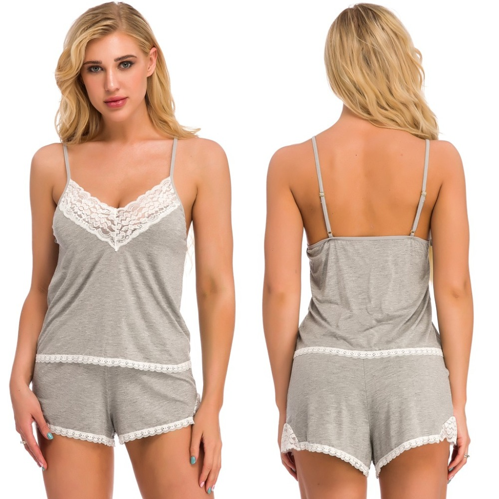Women's Sleepwear Modal soft pijamas women set New Women Sexy Lace V-Neck Lingerie Camisole And Shorts Suit Pajamas woman