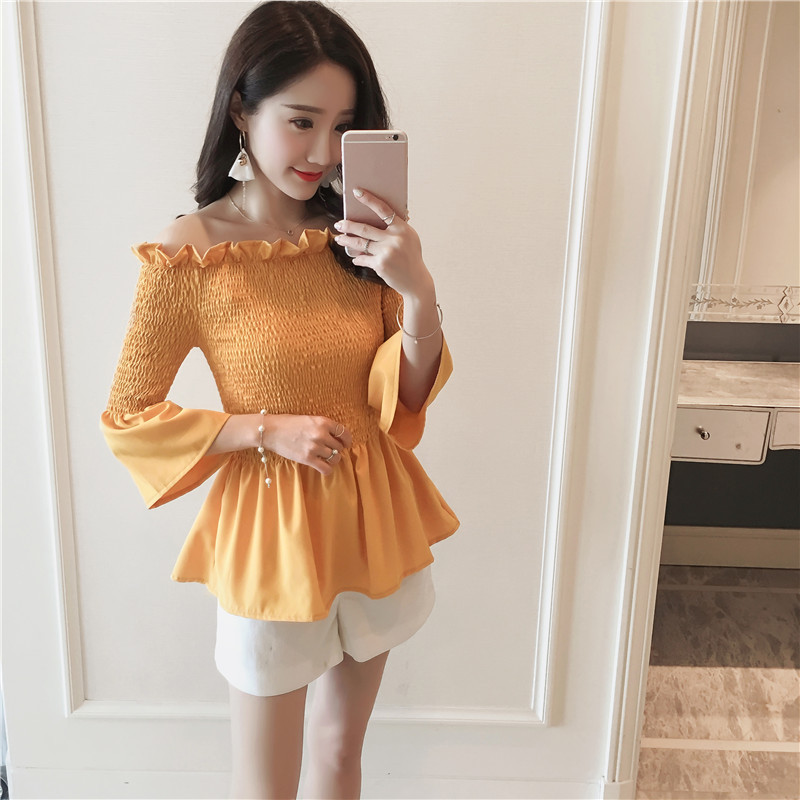 2018 Summer Hot Cute Japan Korea Style Clothes Women Flare Sleeve Ruffled Blouse Yellow Black Chiffon Off Shoulder Peplum Top