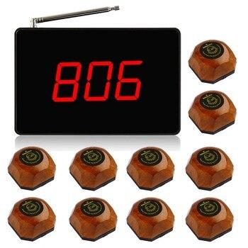 Singcall sistema de llamada, vibrante sin hilos Sistema de botón de llamada de restaurante, 1 unid negro host, 10 madera buscapersonas con un solo botón.