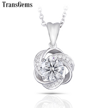 Transgems 14K 585 White Gold Center 1ct Moissanite F Colorless Pendant with Accents for Women Flower Shaped