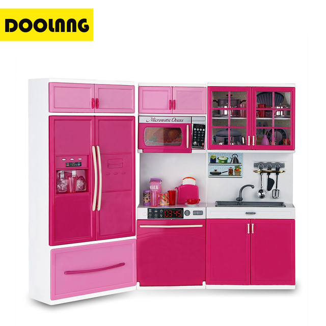 DOOLNNG Kids Large Kitchen Playset Girlsu0026Boys Pretend Cooking Toy Play Set  Pink Simulation Cupboard Gift DL