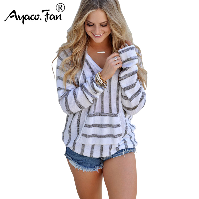 2019 Autumn New Women Sweaters With Hat Winter Long Sleeve Knitted Sweater Womens Tops Casual Loose Striped Pullovers Sweater