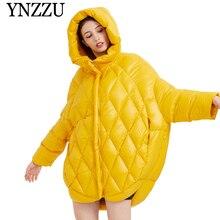 YNZZU Yellow Hooded Long sleeve Women Down jacket 2019 Autumn Winter Oversize Warm coat Pink Big Female Outwear YO896