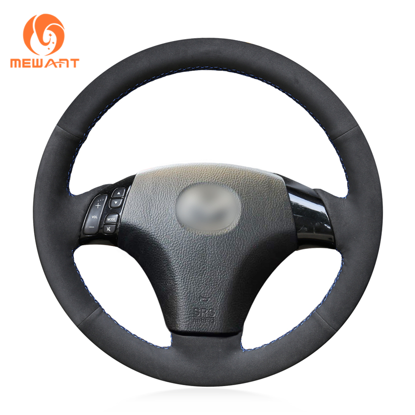 MEWANT Black Suede Genuine Leather Steering Wheel Cover for Mazda 3 Axela 2003-2009 Mazda 5 2004-2010 Mazda 6 Atenza 2004-2008