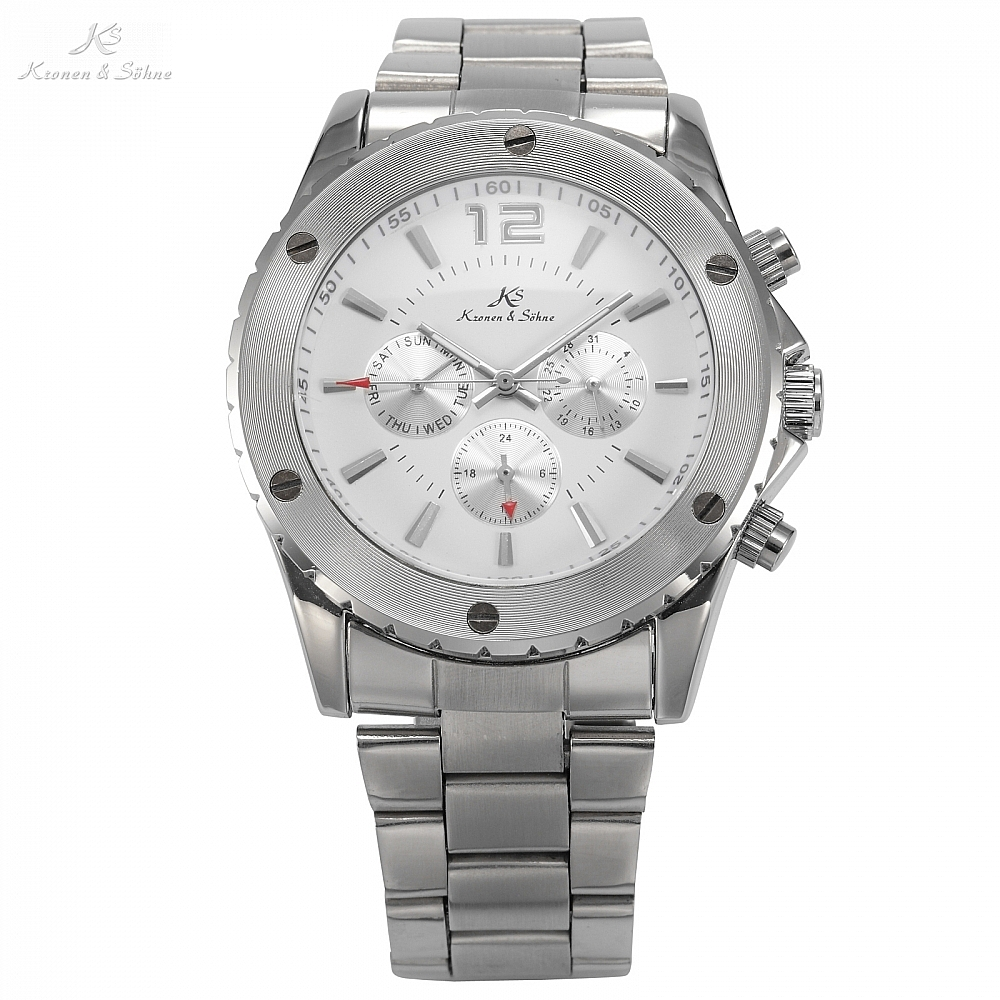 Classic KS Silver White Analog Automatic Mechanical 6 Hands Date Day Stainless Steel Band Wrist Mens Business Watch Gift /KS051