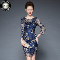 Luxurious Dark Blue Floral Dress 2018 Women Spring Vintage Mesh Embroidery Dress O Neck Casual Dresses