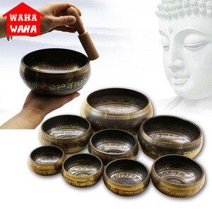 Tibetan Meditation Singing Bowl Nepalese Buddhist Tibetan Chanting Yoga Bowl Buddhist Sound Therapy Bowl Copper Religion Carft(China)