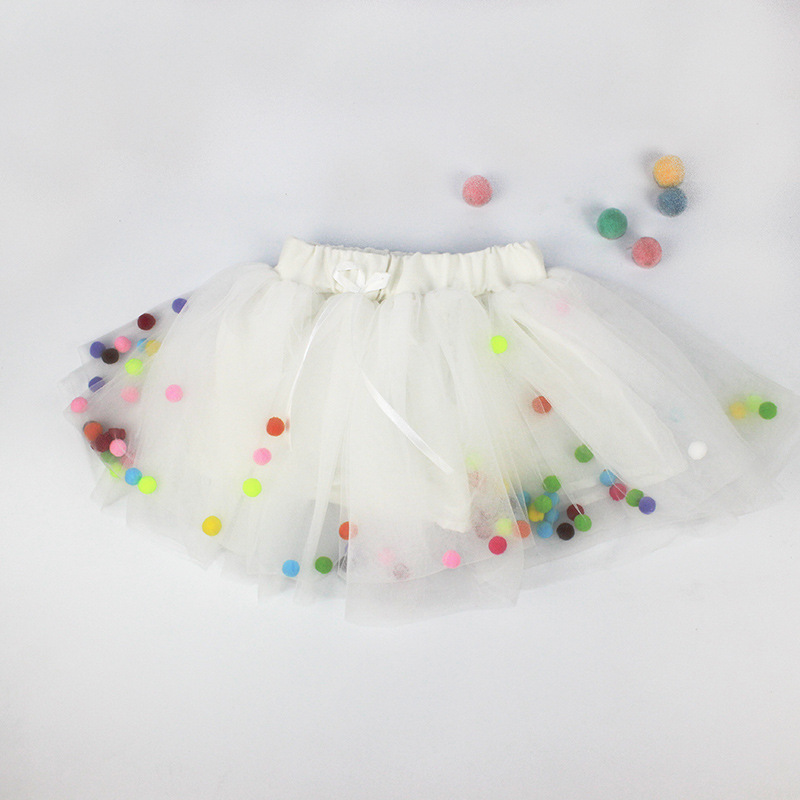 Spring summer Lace Mesh Baby Girl Tutu Skirt Colorful pompom Princess Girls Skirts 1-4Y Children Clothing Tutu ball Pettiskirt (1)