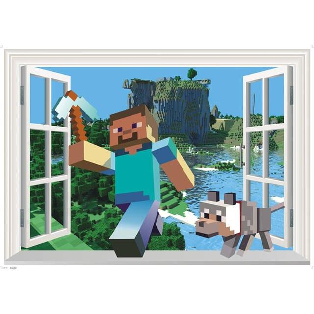 3d Minecraft игры стены стикеры для детей номеров мультфильм Removabled обои Minecraft стив дома декоративные наклейки