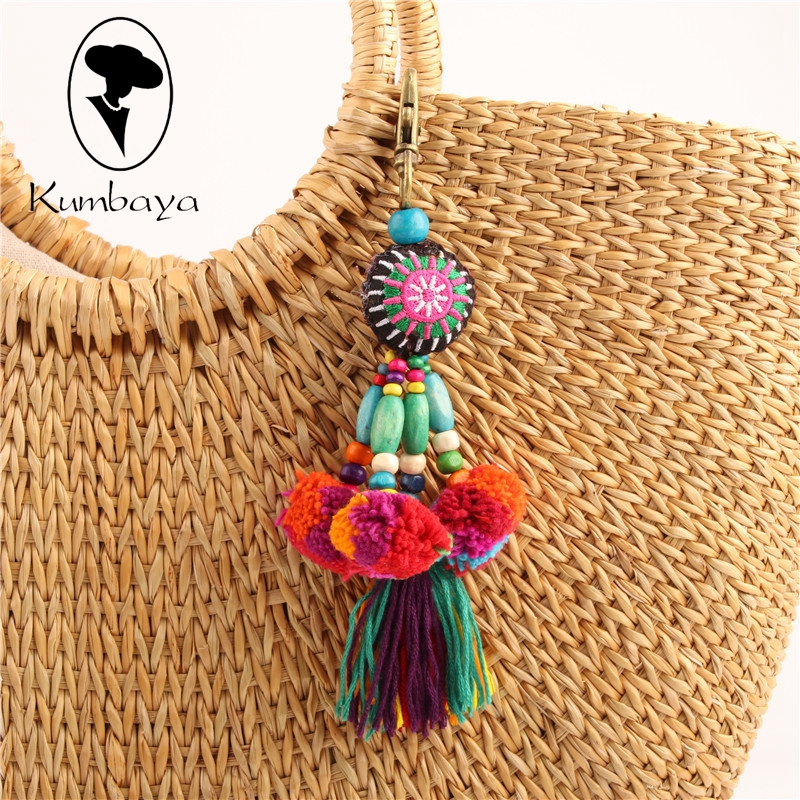Colorful Hairball Pompones Tassels Pompoms Keychain Women Bag Charms Bohemian Decoration Pendants Accessories Key Chains KC15837 chic tassels bead knotted bohemian slender waist rope for women