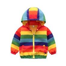Toddler Girl Jackets Girls Outerwear Coats Rainbow Color Striped Hooded Zipper Fashion Children Windbreaker Kids